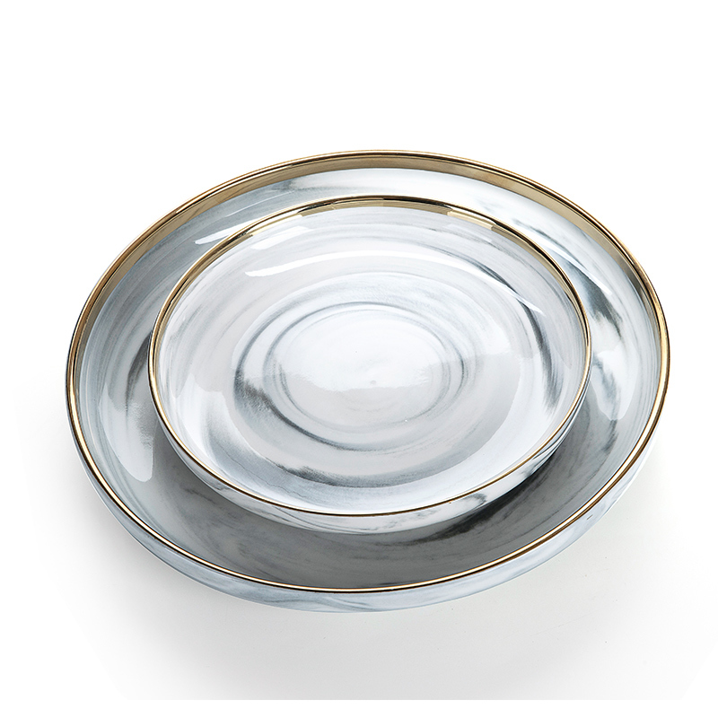 Latest Product Gold Rim Grey Marble Dish, European Gold Rim Grey Marble Plate Sets, Marble Plate Sets#