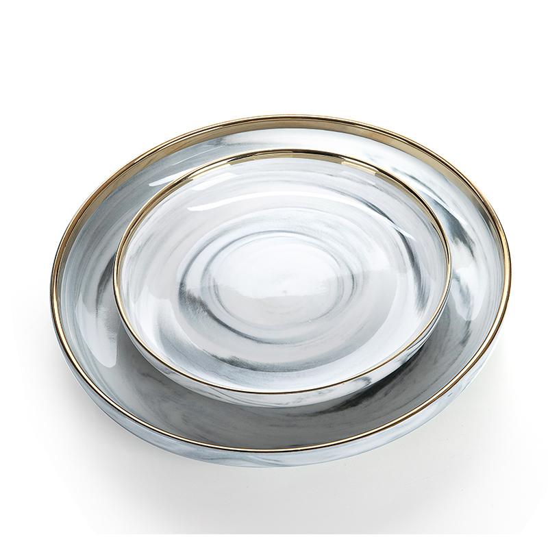 Latest Product Gold Rim Grey Marble Dish, European Gold Rim Grey Marble Plate Sets, Marble Plate Sets#