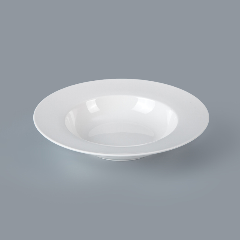 Trending Products 2019 New Hotel Restaurant Used Crockery Ceramic Tableware Pasta Plates Dishes, Wide Rimmed Pasta Bowls
