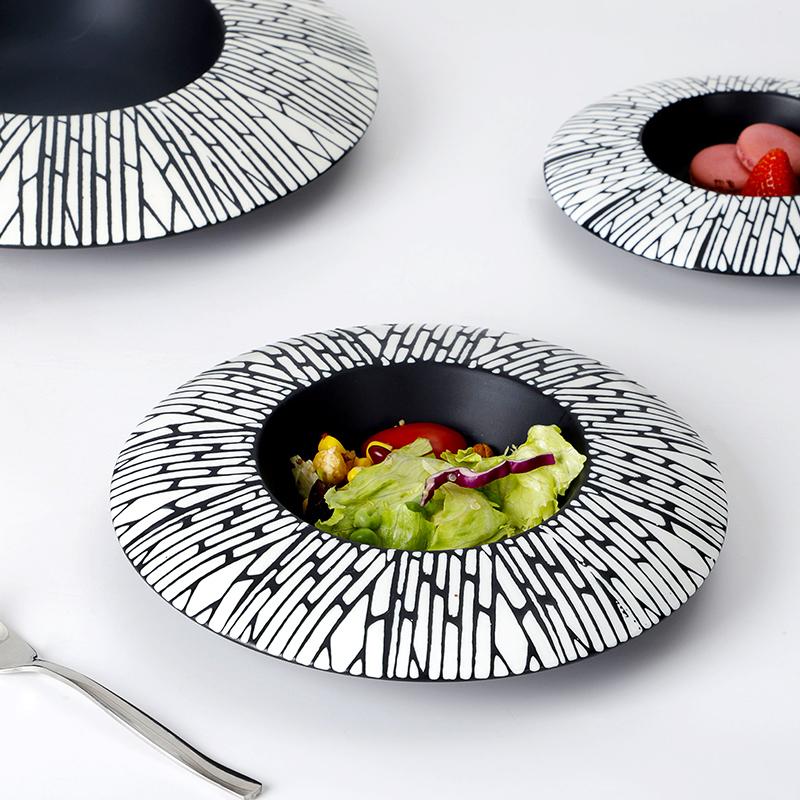 Special Dinnerware Black Ceramic Plates, Black Plates For Restaurant, Fine Cafe Vajilla Gourmet Soup Ceramic Dishes Ware@