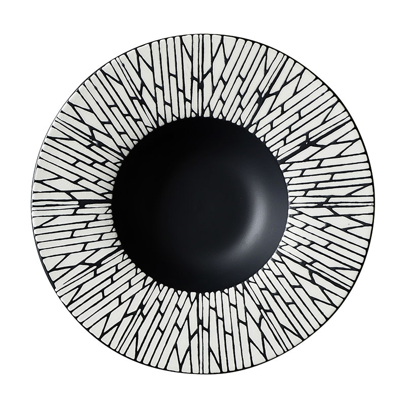 28ceramics Japanese Tableware Black Color Dishes, 28ceramics Tableware Porcelain China Deep Plates Dinnerware&