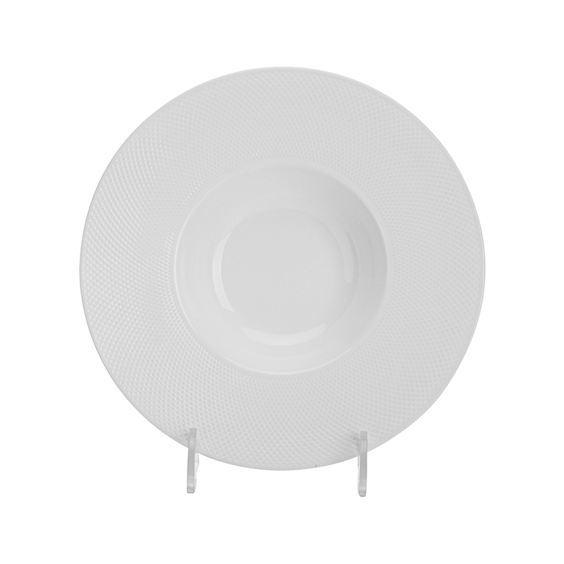 Modern Dishwasher Safe Party & Event Dinner Ware Porcelain Plate, Two Eight Ceramics Wide Rimmed Pasta Plate Salad Plate&