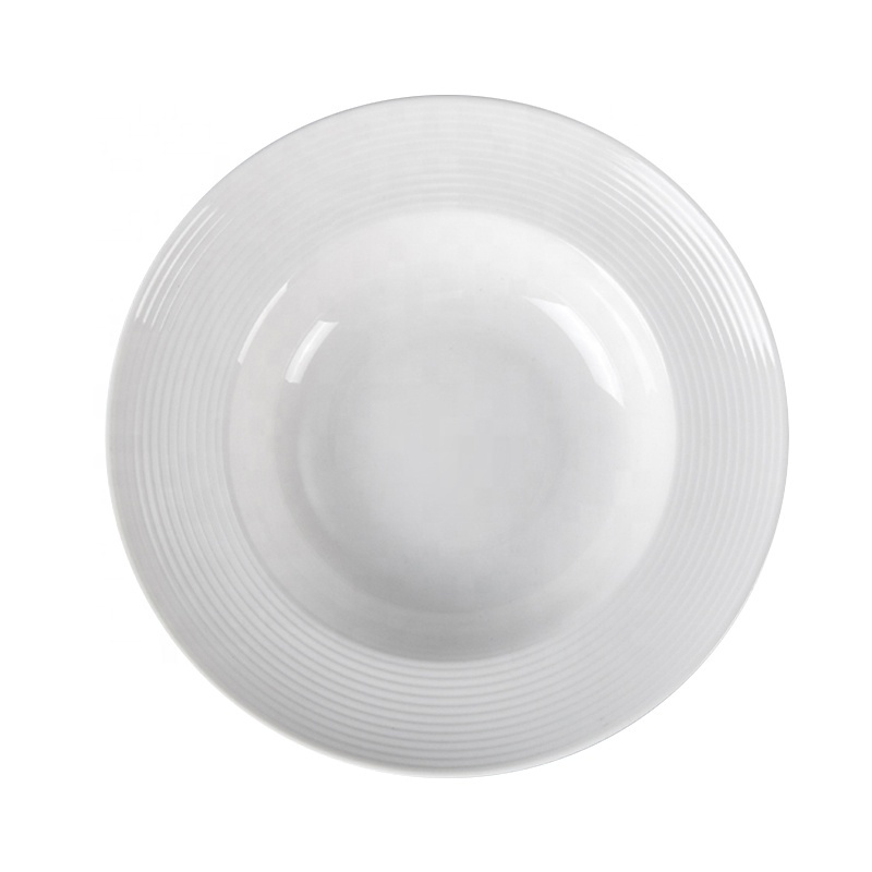 Luxury Oven Safe Catering Dinner White Ware Set Plate, Moden Style Heat Resistant Bar Ceramic Dining Plate Pasta Plate#