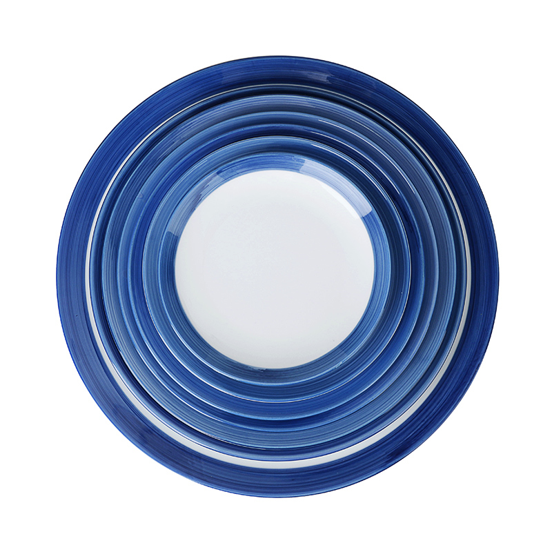 28ceramics Hotel Ceramic Food Plates, Ceramic Tableware Full Sizes Blue Plates Dinnerware Ceramic, Glazed Dishes Plates*