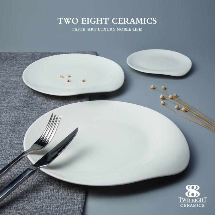 Chaozhou ceramic factory fine porcelain round plate with unique edge design