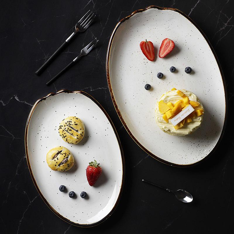Glaze Restaurant Porcelain Ceramic Dishes Plate, Custom Resort Tableware Food Serving Plate, Luxury Lounge Dinnerware Fish Dish~