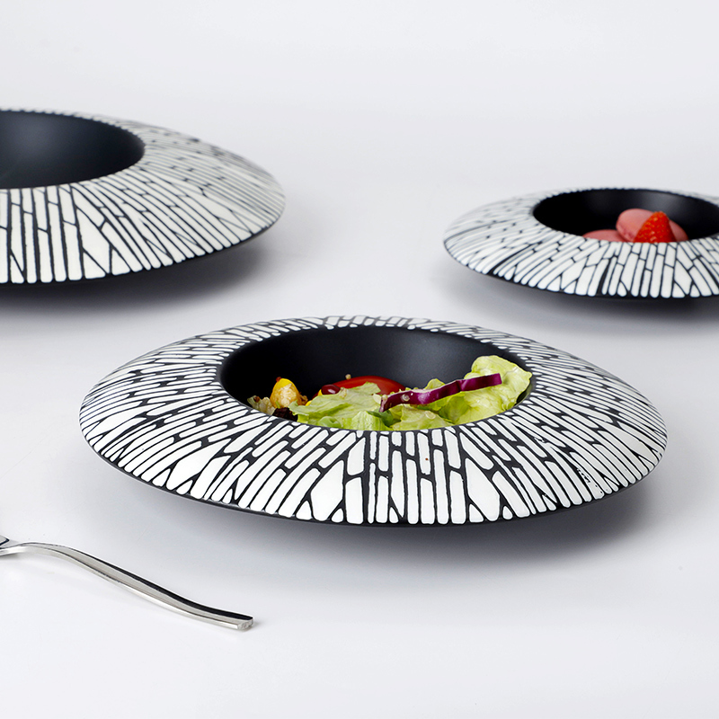 Custom Lounge Vajilla De Porcelana Black Color Dishes, Fine Soup Hand Painted Ceramic Dish, Special Pasta Black Stone Plate/