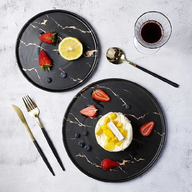 Trending Products Two Eight Black &Gold Decal Flat Round Ceramic Porcelain Marble Charger Plate, Marble Dining Plate@