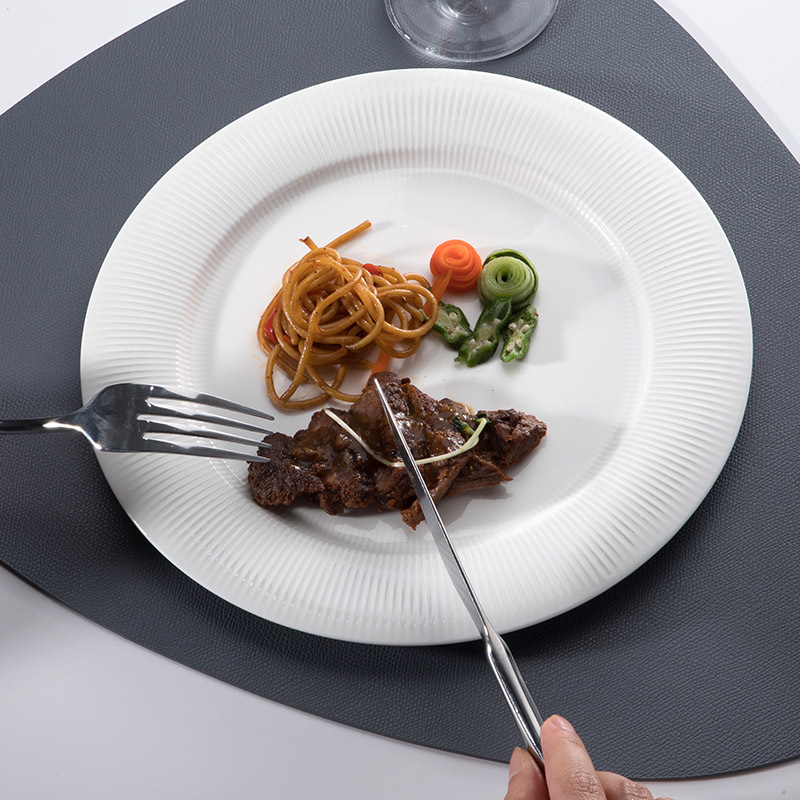 Party & Event Catering Hotel Brand Dishes White Porcelain Plate, Dishwasher Safe Cafe Porcelain Dinner Porcelain Plate Sets/