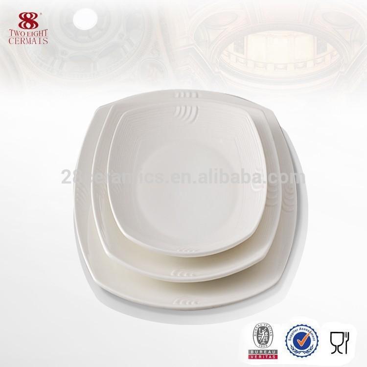 Hospitality Hotel & Restaurant Used Crockery Tableware, Plain White Ceramic Plate, Square Plate Restaurant^