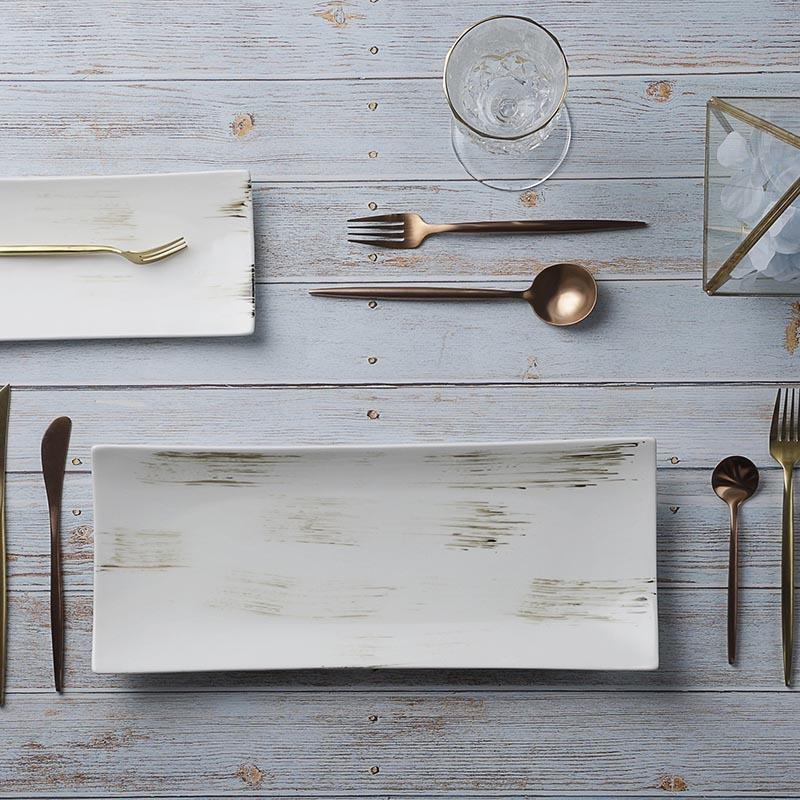 Custom Cafe Vajilla Gourmet Design Plate, Ceramic Restaurant Serving Dishes, Special Cafe Vajilla De Porcelana Rectangle Plates&