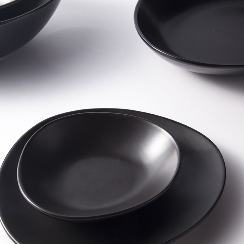 Black Dinnerware Crockery Glazed For Specialty Restaurant Banquet Hotel Unique Black Dinnner Set^