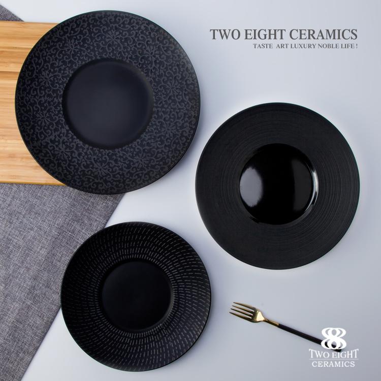 Rare special japanese design porcelain black plates for restaurant ceramic microwave dish plate