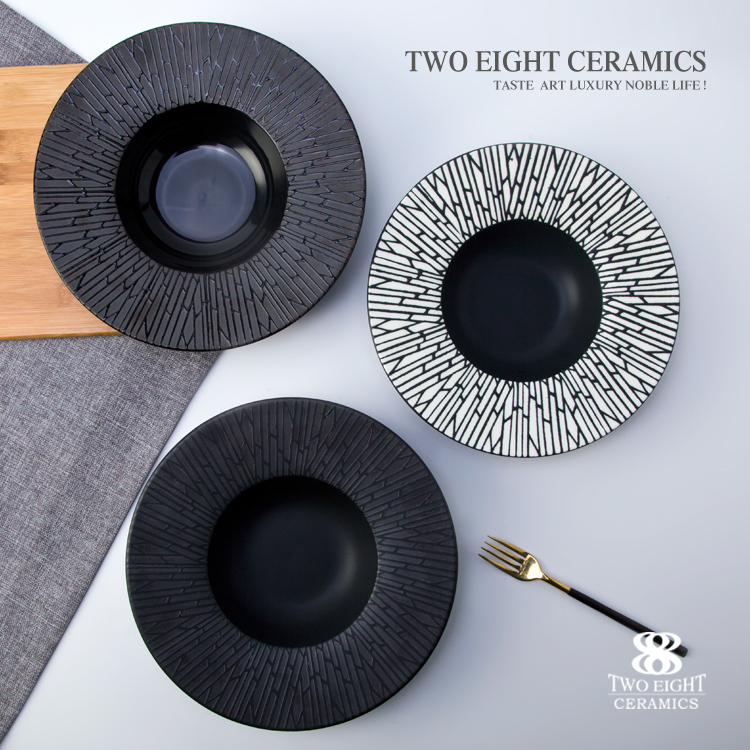 2017 new style high quality ceramic black and white round bowl