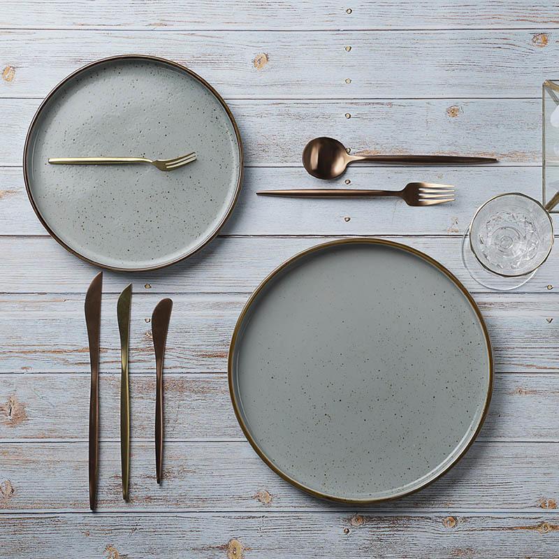 Rustic Restaurant Crokery Dinnerware Sets Plate, Luxury Resort Porcelain Snack Plate, Ceramic Dishes For Restaurant~