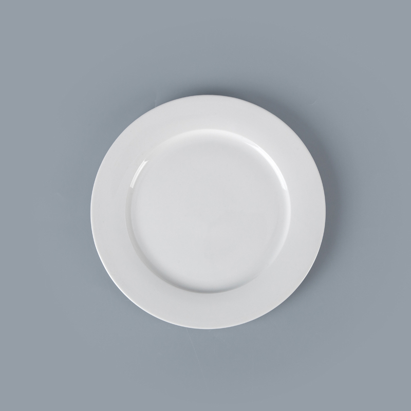 White Porcelain Crockery Hotel Dinner Plates, Wedding Porcelain Tableware Dinner Plates, White Dinner Ceramics Plate^