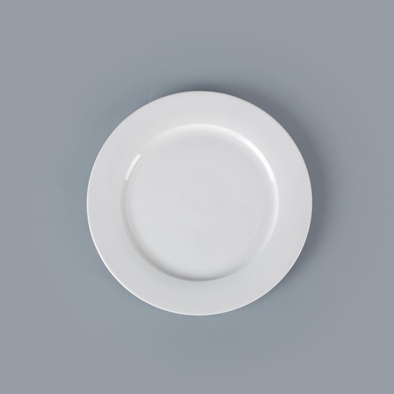 White Porcelain Crockery Hotel Dinner Plates, Wedding Porcelain Tableware Dinner Plates, White Dinner Ceramics Plate^