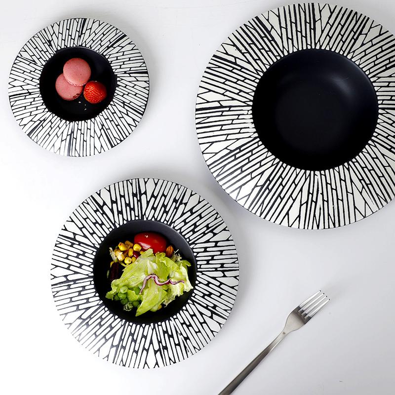 Black Porcelain Plate Pasta, Hot Sale Pasta Restaurant Dishes, Custom Lounge Vajilla Gourmet Black Ceramic Dessert Plates~