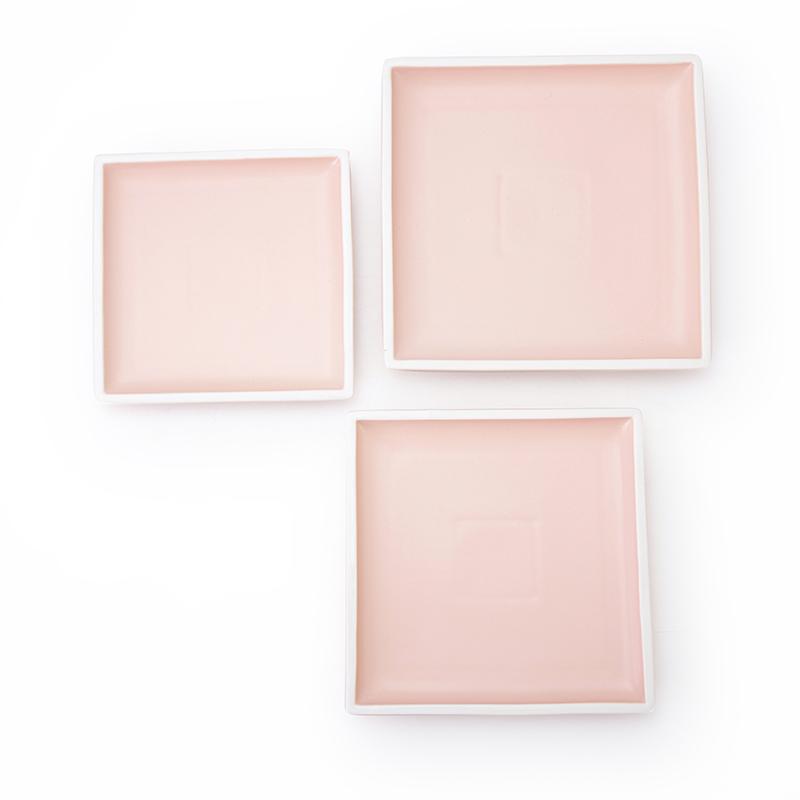 Compra en Linea Platos Porcelana Color, Hotel Plates Color Matt, Restaurant Square Porcelain Dishware Pink Color