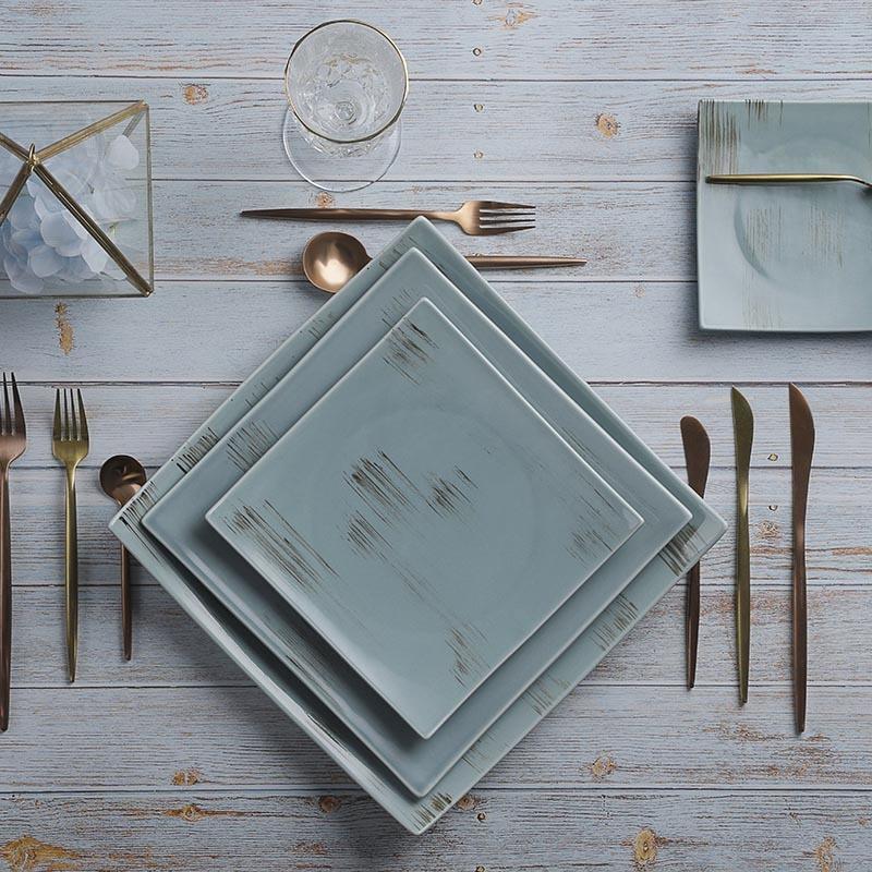 28ceramics Hotel Tableware 6/8/10 Inch Square Plates Ceramic, Restaurant Tableware Plates Sets Dinnerware Ceramic, Dinner Plate&