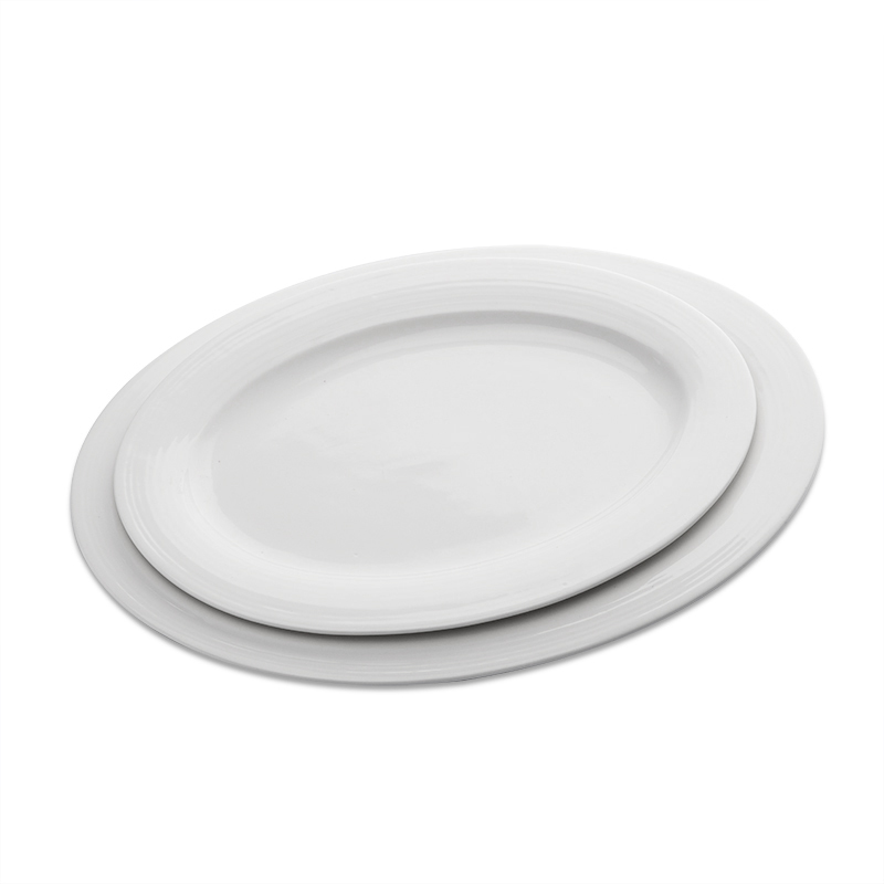 China Supplier High Temperature Durable White Porcelain Fish Plate, Restaurant Oval Plate@