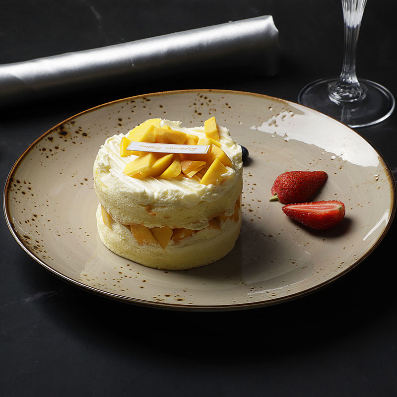 Fine Banquet Eco Friendly Plates, Rustic Restaurant Dinnerware Round Plate, Color Glaze Cafe Ceramic Plates Dishes&