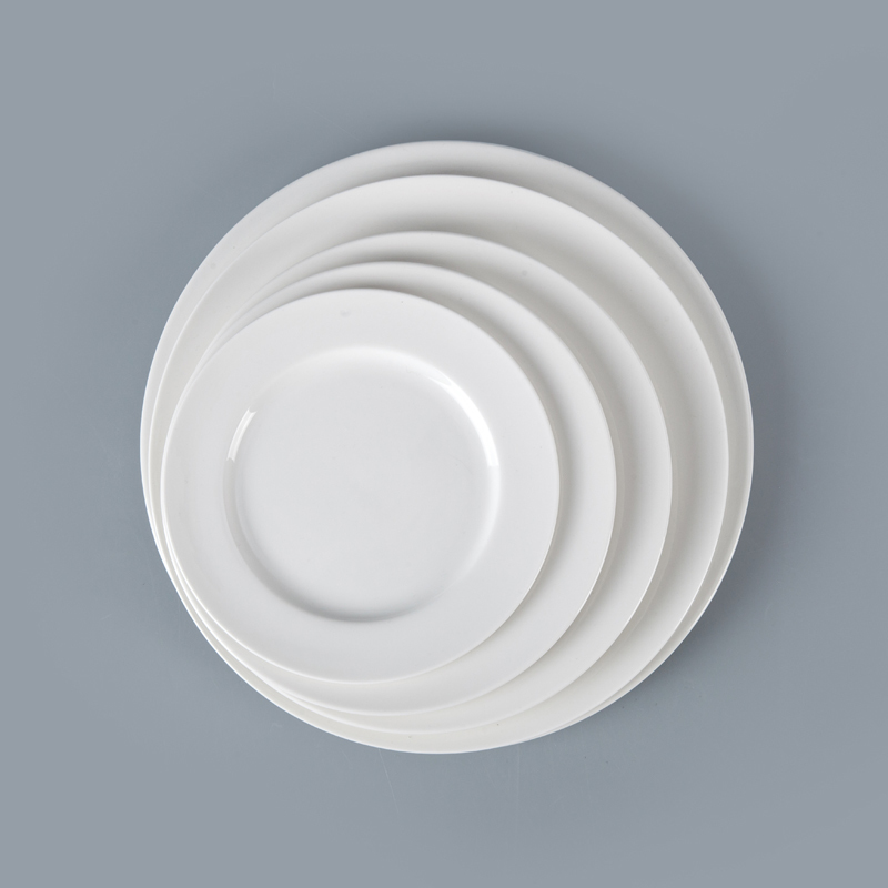 Rental Hotel Restaurant Ceramic Dishware, European Sets Of Dishes,Hotel White Porcelain Dinner Plate~