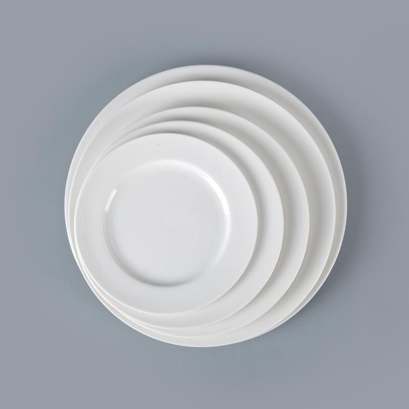 Rental Hotel Restaurant Ceramic Dishware, European Sets Of Dishes,Hotel White Porcelain Dinner Plate~