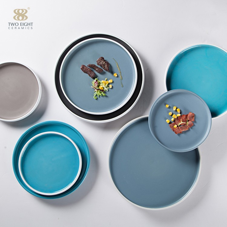 Chaozhou Handmade Colored Porcelain Dinner Round Plate for Restaurant/