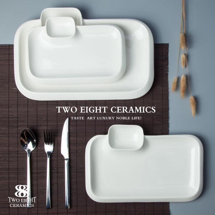 Chaozhou fengxi porcelain dining plate set retangular 9.75