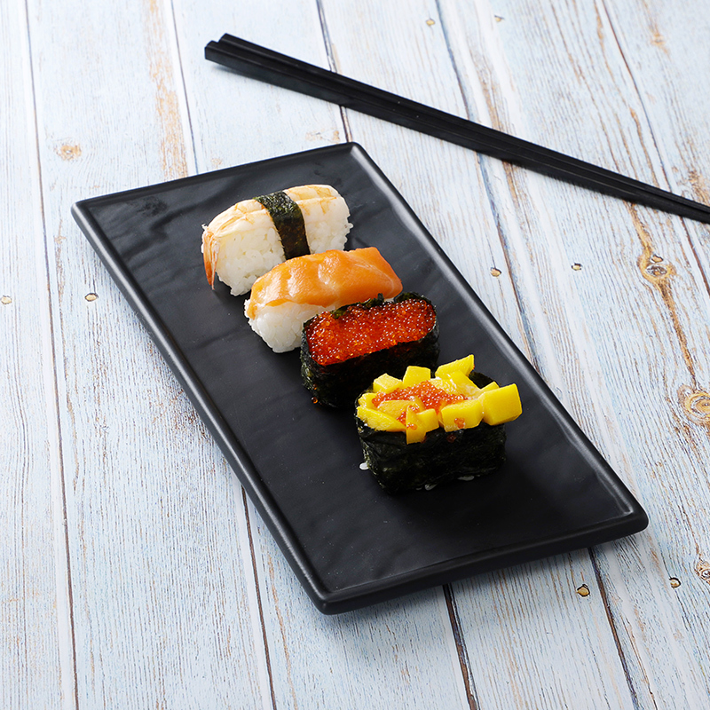 Innovative Products Japanese Hotel Best Seller Black Caviart Sushi Dish, Porcelain Ceramic Rectangular Plate&