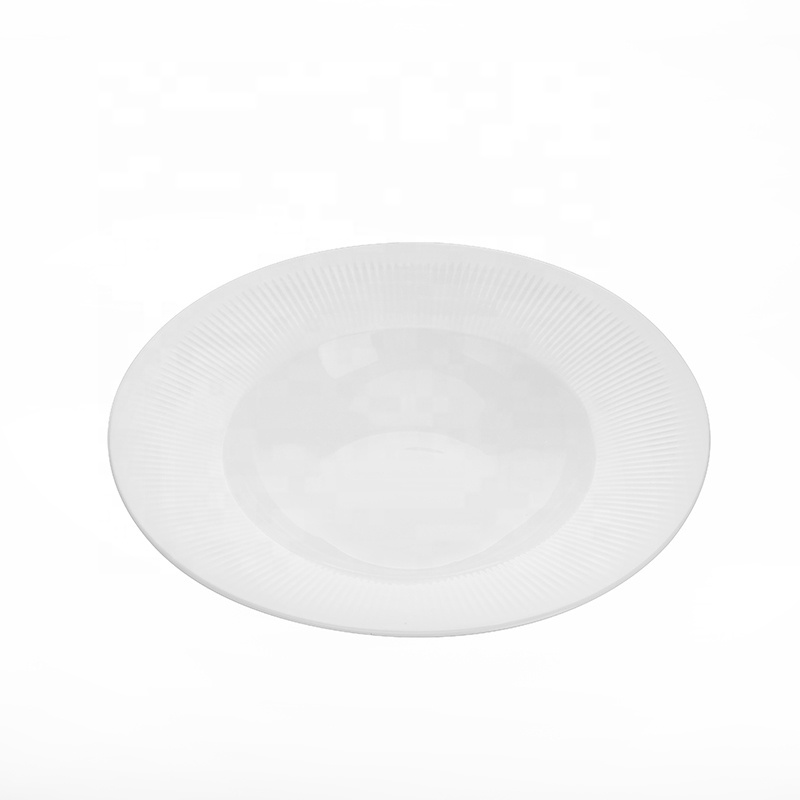 Outdoor Lifestyle Fine China Tableware Ceramic Dining Tableware, Round Plate China Porcelain Wide Rimmed Pasta Plates^