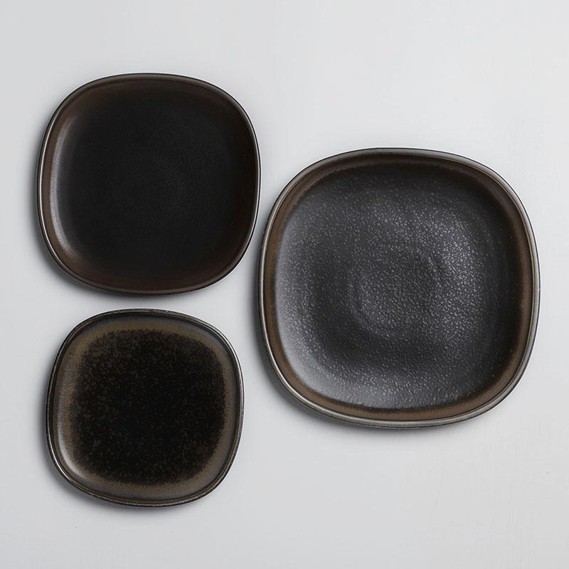 Horeca Matte Stoneware Crockery Dinner Set Porcelain Color Dinnerware Black Square Dinnerware Set&