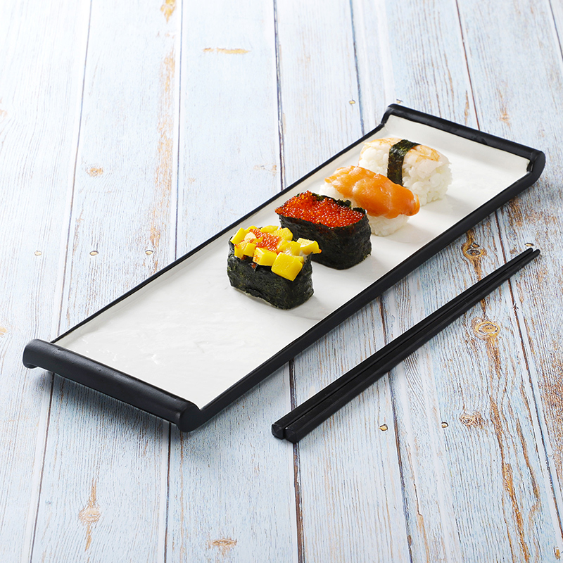 Luxury Restaurant Vajilla Gourmet Sushi Plate Ceramic, Black Color Dishes, Color Glaze Resort Dinnerware Black Rectangular Plate
