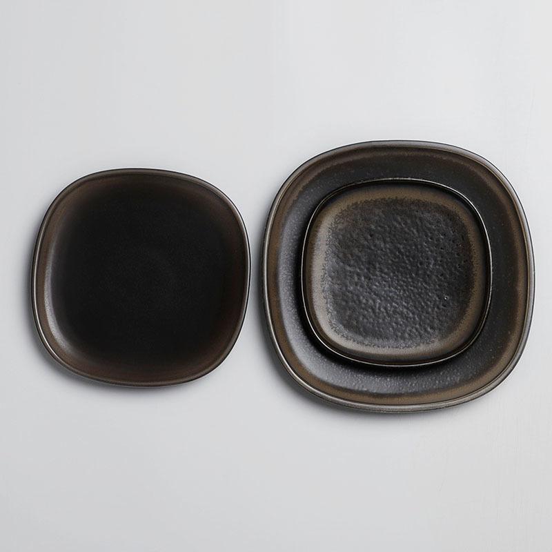 Best Sale ceramic hospital plate, dishes square plate, black plates for restaurant*
