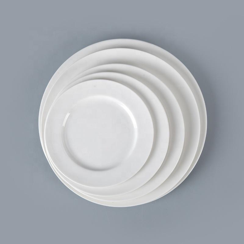 14 Inch White Dinner Plate, White Porcelain Crockery Hotel Porcelain Plates