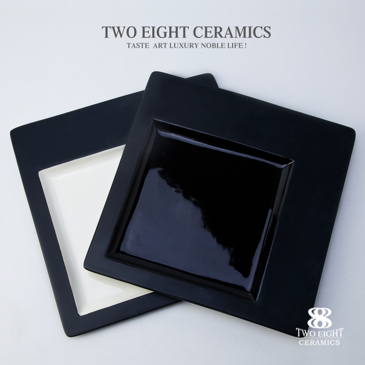 Black and white porcelain square dining plate set