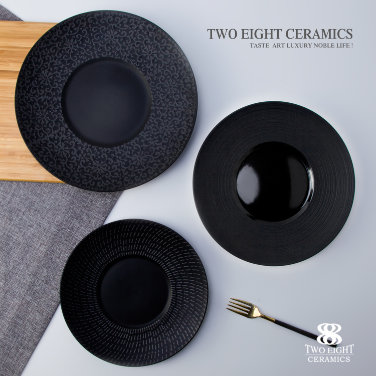 Mid east & Japanese matt black round ceramic flat plate