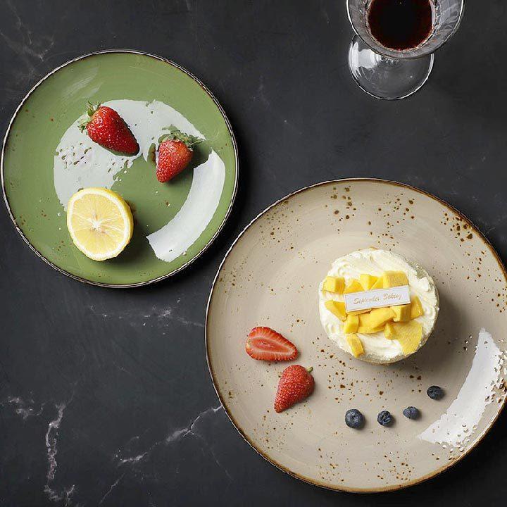 28ceramics Rustic Guangzhou Tableware Appetizer Plates, 28ceramics Rustic Ceramic Tableware 8.25/10.5 Inch Dinnerware Plate~