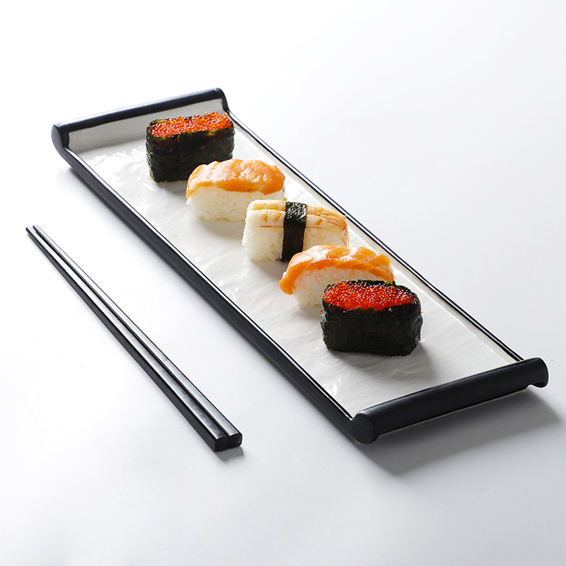 Porcelain Black and White Rectangle Customized Ceramic Japanese Sushi Restaurant Plate