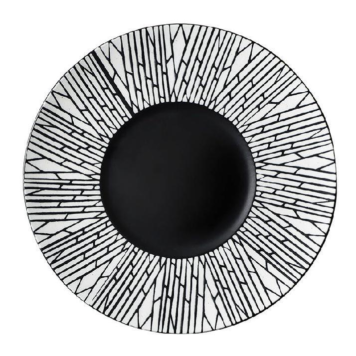 28ceramics Matte Ceramic Tableware Black Charger Plates, 28ceramics Korean Style 10/11/12 Inch Black Dishes~