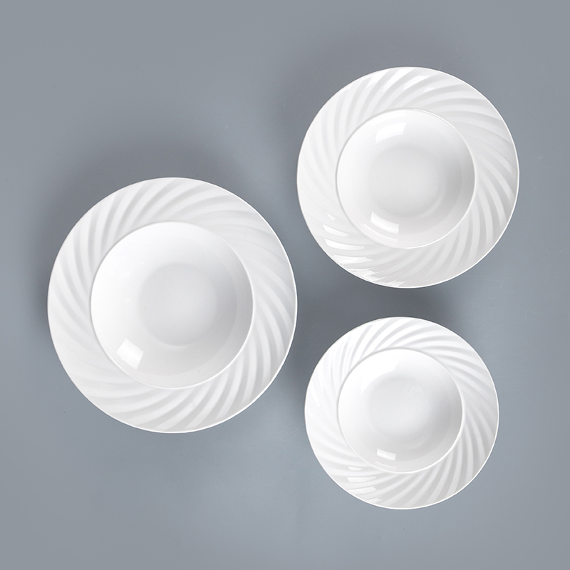 wholesale ceramics tabbleware set unique cheap pasta plate plain white ceramics use restaurant porcelain coupe pasta plate