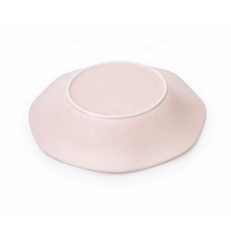 Ceramic China Porcelain Colore Catering Hotel Lotus Shaped Soup Plate, Porcelain Dinner Plate Salad Plate^