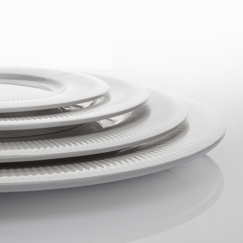 New White Durable Banquet Fine Dining Flat Rim Plate,White Hotel Round BuffetPlate, Custom Logo Ceramic Plates Dishes#