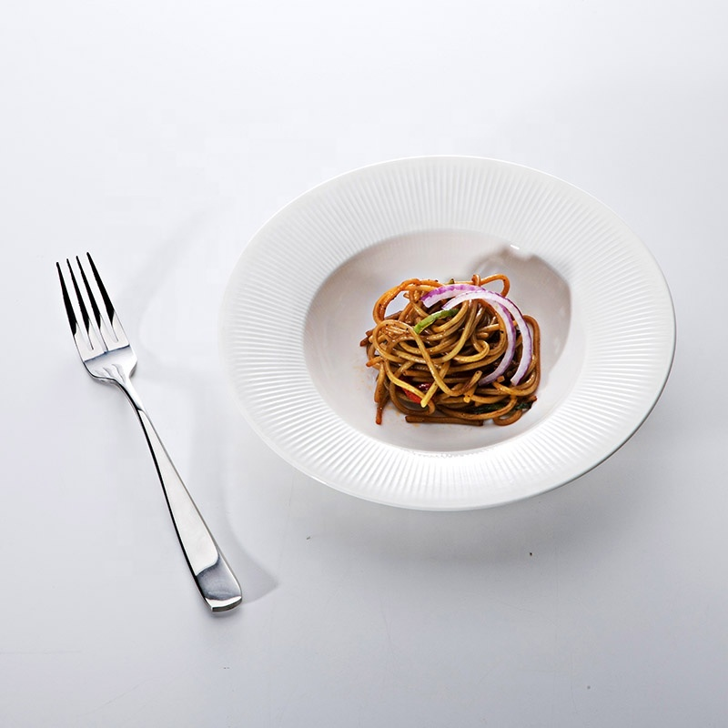 Outdoor lifestyle Marriott chinaware Dinner Plates White Pasta Plates, Two Eight Crockery Tableware Wide Rimmed Pasta Bowls@