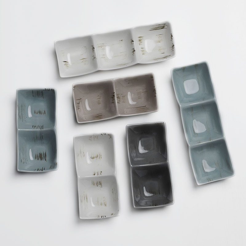 Color Banquet Vajilla Gourmet Square Sauce Dishes, Special Mini Plate Restaurant Serving Dishes, Good Ceramic Sauce Plate/