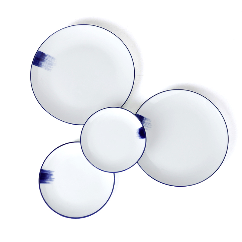 New Arrival Western Style White With Blue Rim Round Plate, Customized Dinner Plate Set For Banquet hall/