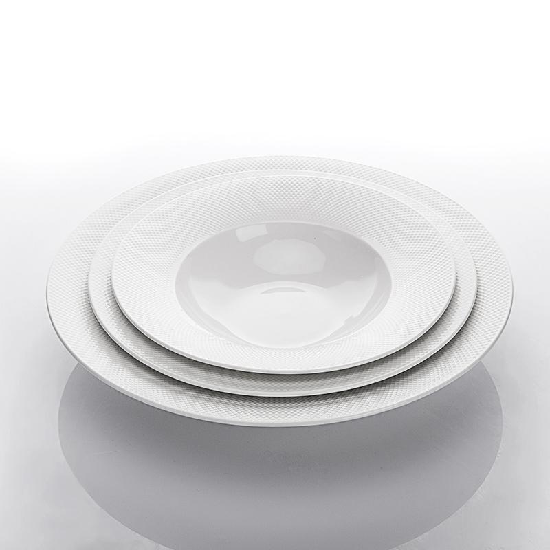 Nordic Microwave Safe Hotel Design Ceramic Fruit Salad Plate, Restaurant Pasta Plates, Wide Rimmed Pasta Bowls