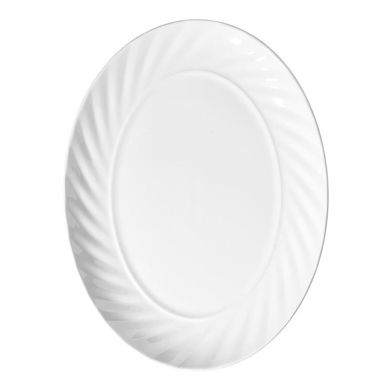 Oval 10.25/12/14.25 Inch Plate Set Ceramic White Dinnerware Wholesale Dishes