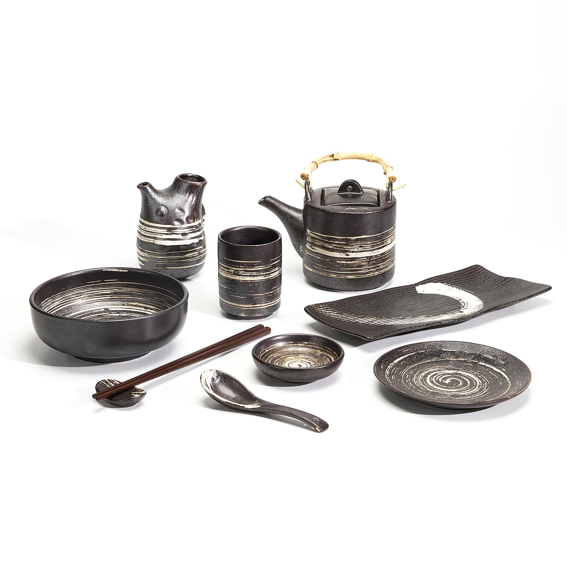 Exquisite Dinnerware Modern Porcelain Tableware Turkish Ceramic Plate Black Soup Bowl, Soup Plate*